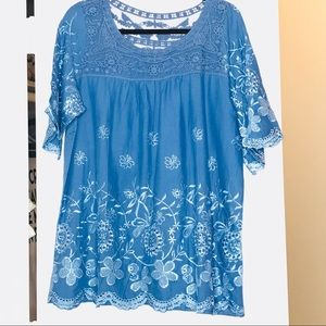 Tops - NWOT Blue Cutout Enbroidered Blue Top Short Sleeve